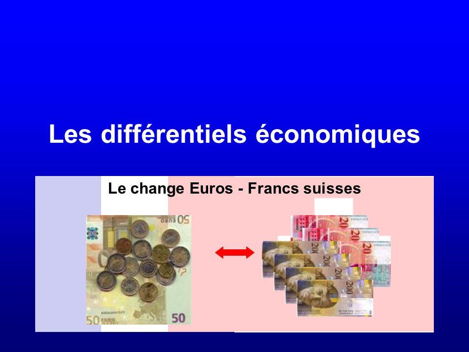 Les différentiels économiques Le change Euros - Francs suisses