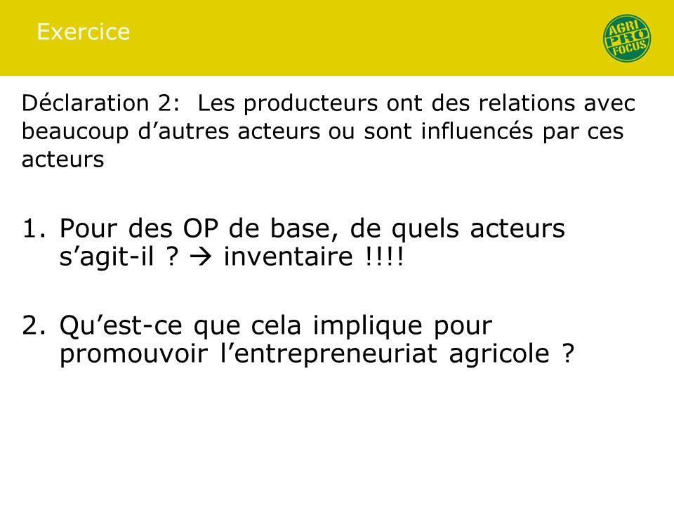 Exercice Déclaration 2: Les producteurs ont des relations avec beaucoup dautres acteurs ou sont influencés par ces acteurs 1.Pour des OP de base, de q