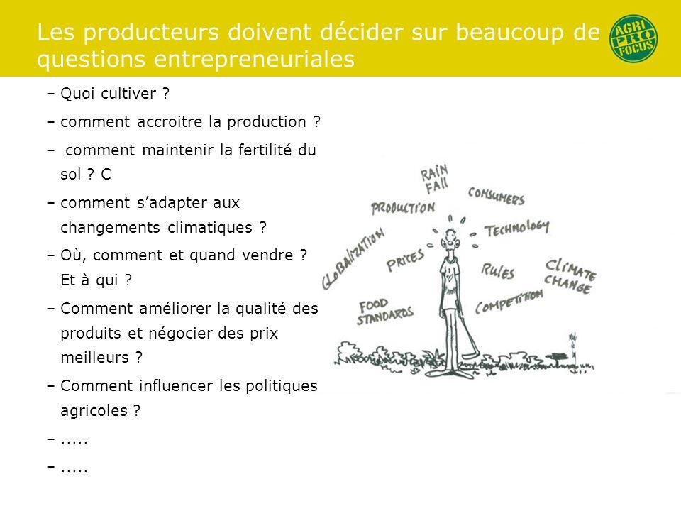 Les producteurs doivent décider sur beaucoup de questions entrepreneuriales –Quoi cultiver ? –comment accroitre la production ? – comment maintenir la