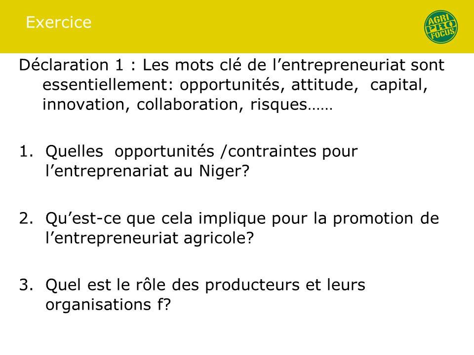 Exercice Déclaration 1 : Les mots clé de lentrepreneuriat sont essentiellement: opportunités, attitude, capital, innovation, collaboration, risques……