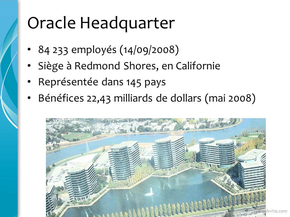 Oracle Headquarter 84 233 employés (14/09/2008) Siège à Redmond Shores, en Californie Représentée dans 145 pays Bénéfices 22,43 milliards de dollars (