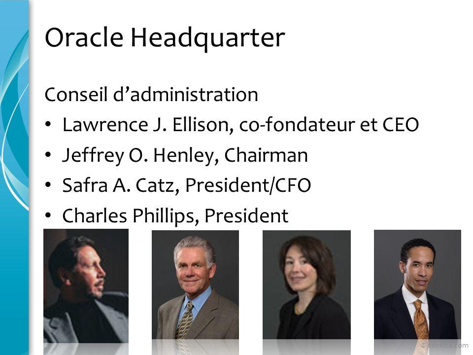 Oracle Headquarter Conseil dadministration Lawrence J. Ellison, co-fondateur et CEO Jeffrey O. Henley, Chairman Safra A. Catz, President/CFO Charles P
