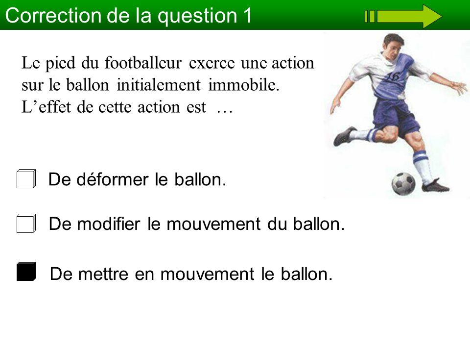 Le pied du footballeur exerce une action sur le ballon initialement immobile. Leffet de cette action est … Correction de la question 1 De mettre en mo
