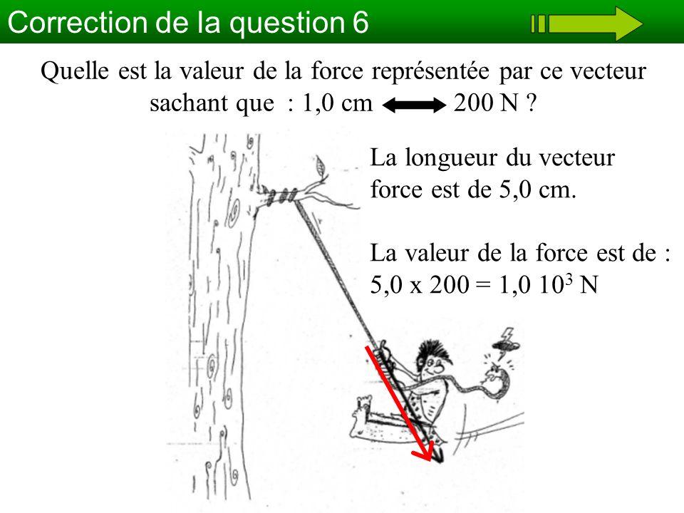 Correction de la question 6 Quelle est la valeur de la force représentée par ce vecteur sachant que : 1,0 cm 200 N ? La longueur du vecteur force est