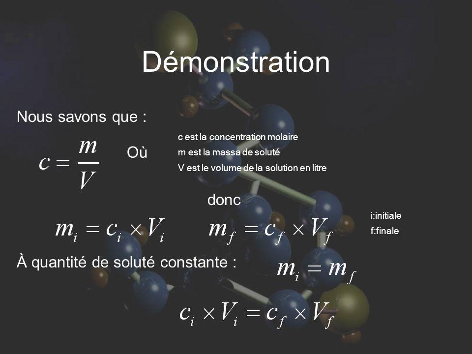 Démonstration Nous savons que : donc À quantité de soluté constante : c est la concentration molaire m est la massa de soluté V est le volume de la so