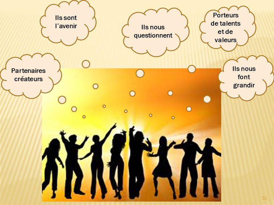31 Porteurs de talents et de valeurs Ils sont lavenir Ils nous font grandir Ils nous questionnent Partenaires créateurs