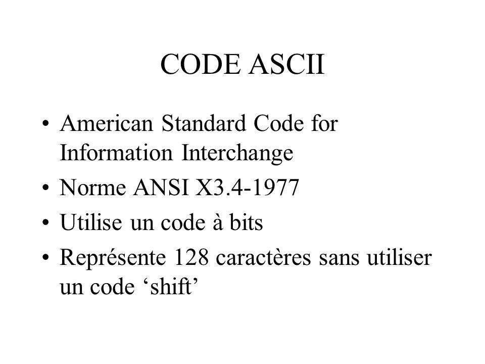 CODE ASCII American Standard Code for Information Interchange Norme ANSI X3.4-1977 Utilise un code à bits Représente 128 caractères sans utiliser un c
