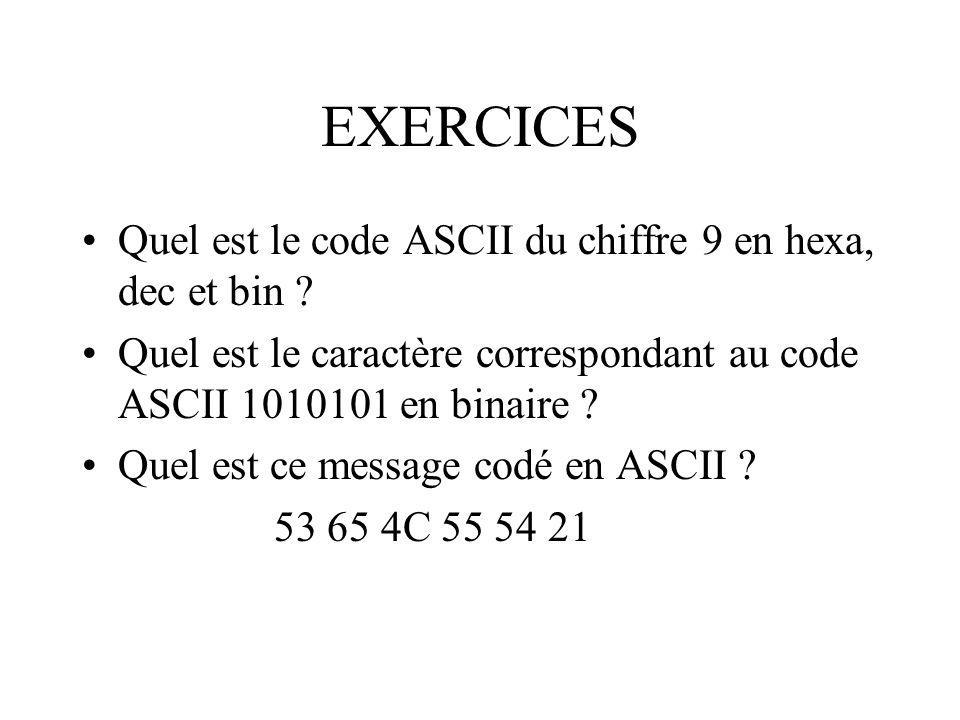 EXERCICES Quel est le code ASCII du chiffre 9 en hexa, dec et bin ? Quel est le caractère correspondant au code ASCII 1010101 en binaire ? Quel est ce
