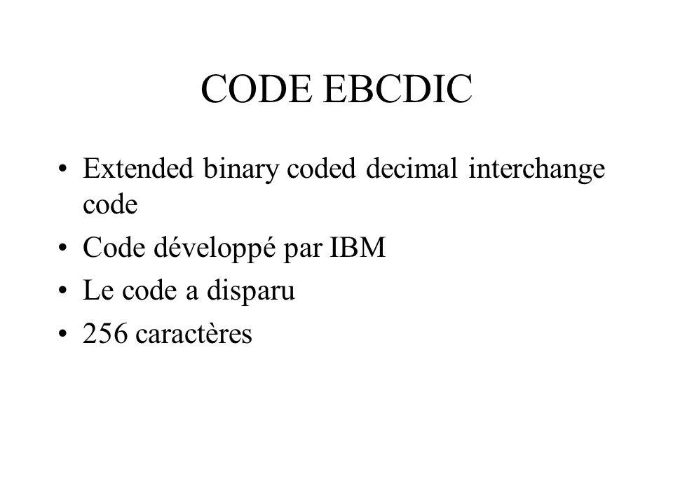 CODE EBCDIC Extended binary coded decimal interchange code Code développé par IBM Le code a disparu 256 caractères