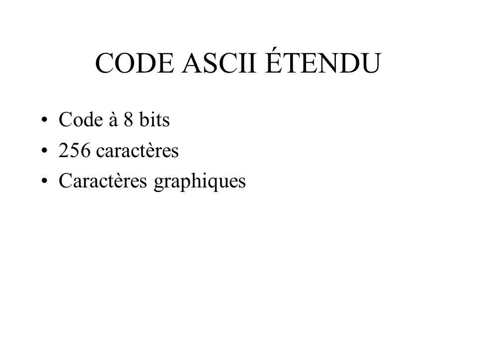 CODE ASCII ÉTENDU Code à 8 bits 256 caractères Caractères graphiques