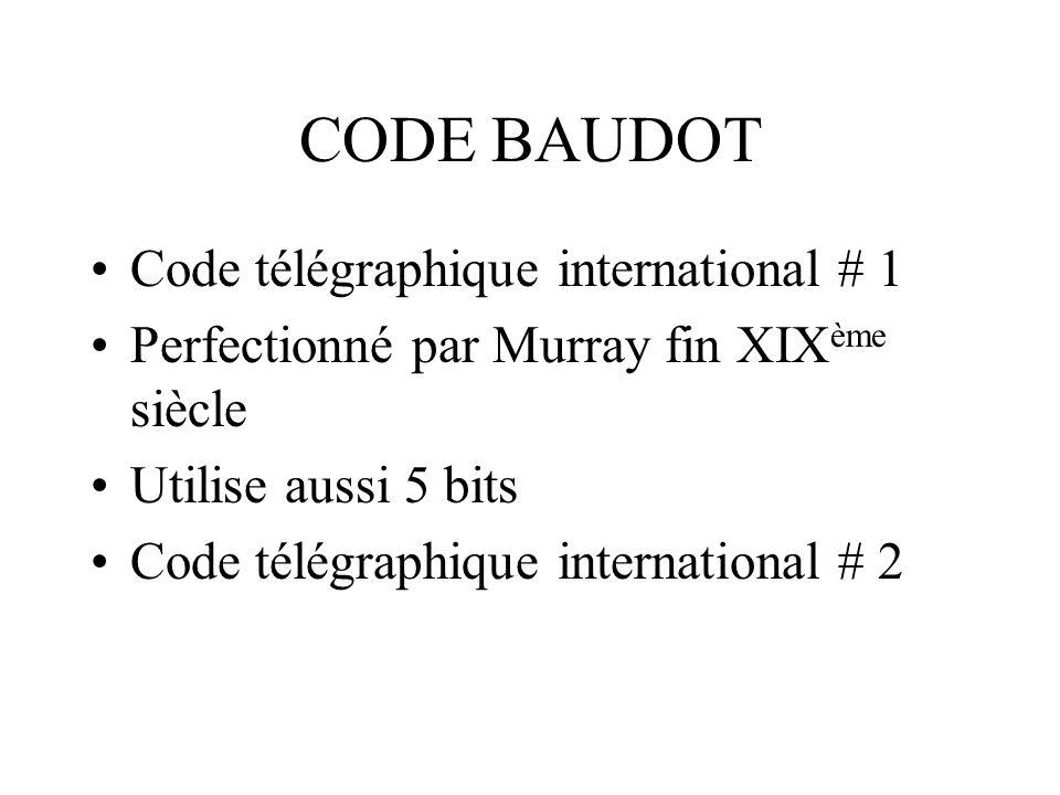 CODE BAUDOT Code télégraphique international # 1 Perfectionné par Murray fin XIX ème siècle Utilise aussi 5 bits Code télégraphique international # 2