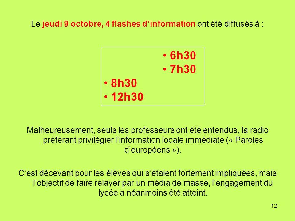 12 Le jeudi 9 octobre, 4 flashes dinformation ont été diffusés à : Malheureusement, seuls les professeurs ont été entendus, la radio préférant privilé