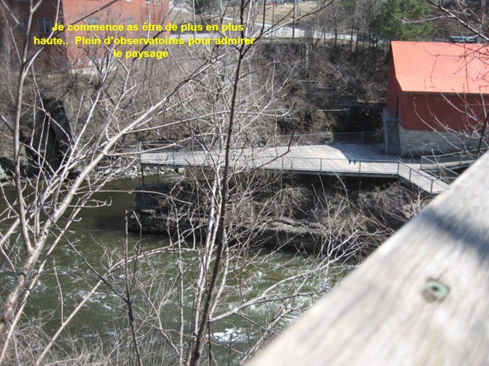 Petite passerelle de lautre coté Je continue à descendre le long de la rivière Une personne a perdu la vie il y a quelques années en faisant du rafting et le maire de Sherbrooke était dans le canoë et a eu très peur également quand il est tombé dans les rapides