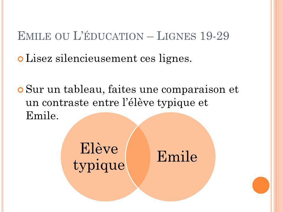 E MILE OU L ÉDUCATION – L IGNES 19-29 Lisez silencieusement ces lignes.