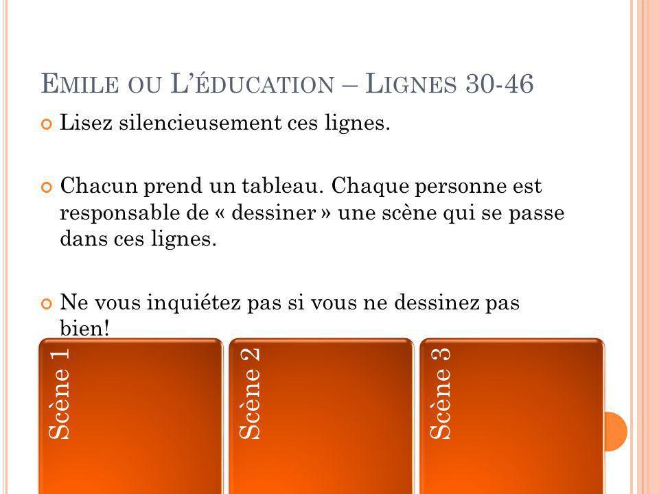 E MILE OU L ÉDUCATION – L IGNES 30-46 Lisez silencieusement ces lignes.