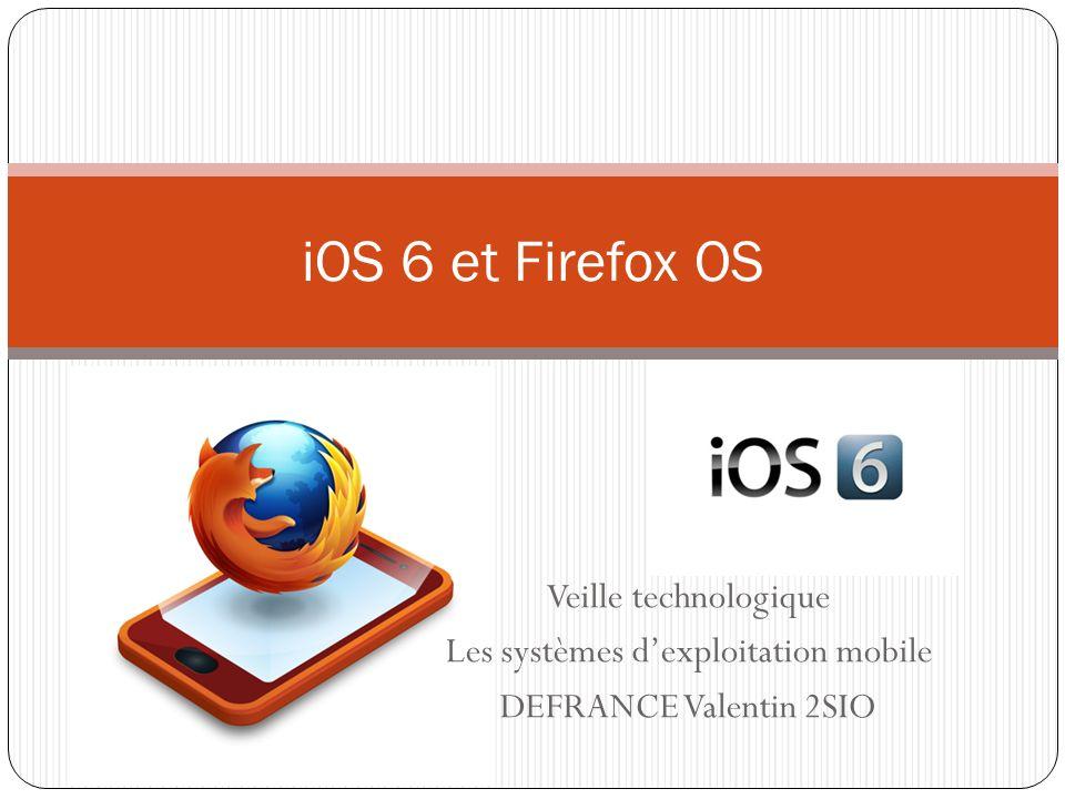 Veille technologique Les systèmes dexploitation mobile DEFRANCE Valentin 2SIO iOS 6 et Firefox OS