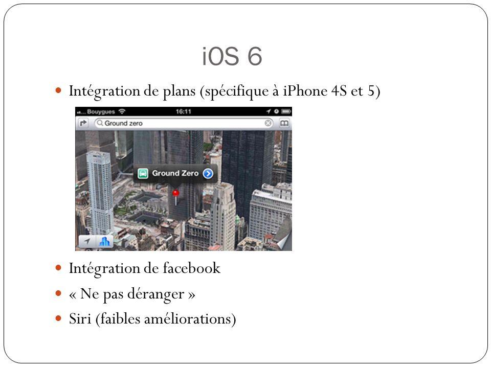 iOS 6 Intégration de plans (spécifique à iPhone 4S et 5) Intégration de facebook « Ne pas déranger » Siri (faibles améliorations)