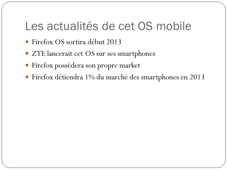 Les actualités de cet OS mobile Firefox OS sortira début 2013 ZTE lancerait cet OS sur ses smartphones Firefox possèdera son propre market Firefox dét