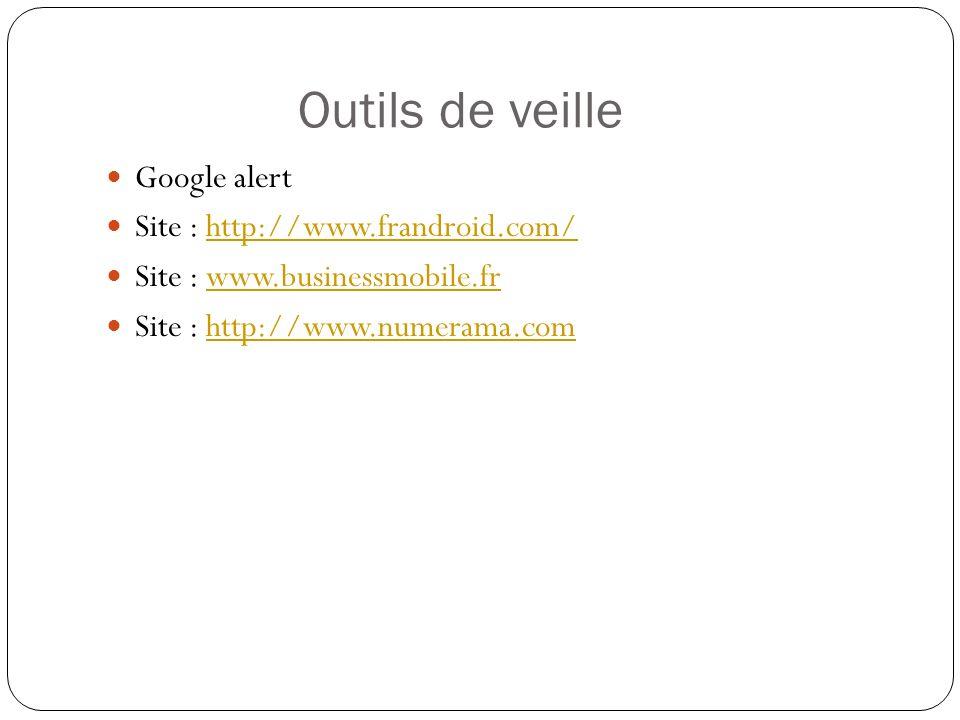 Outils de veille Google alert Site : http://www.frandroid.com/http://www.frandroid.com/ Site : www.businessmobile.frwww.businessmobile.fr Site : http://www.numerama.comhttp://www.numerama.com