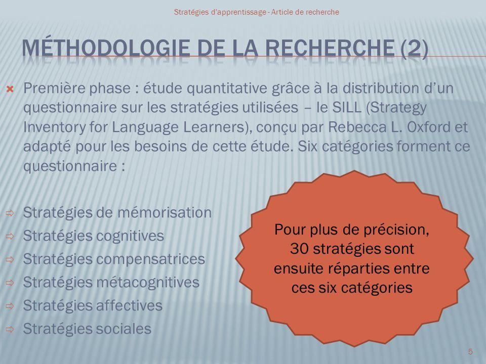 Première phase : étude quantitative grâce à la distribution dun questionnaire sur les stratégies utilisées – le SILL (Strategy Inventory for Language