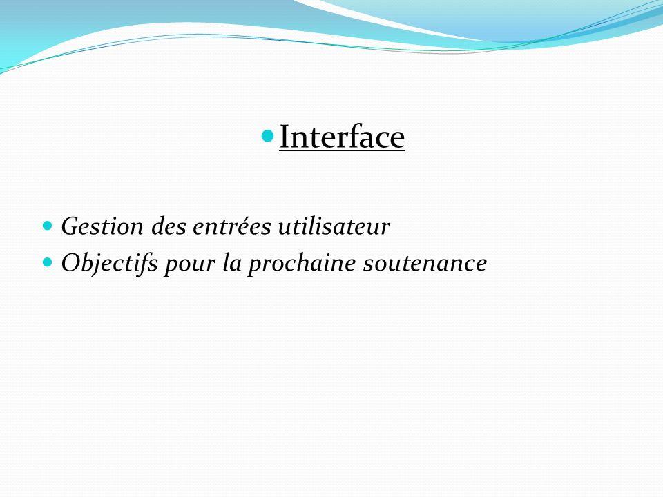 Interface Gestion des entrées utilisateur Objectifs pour la prochaine soutenance