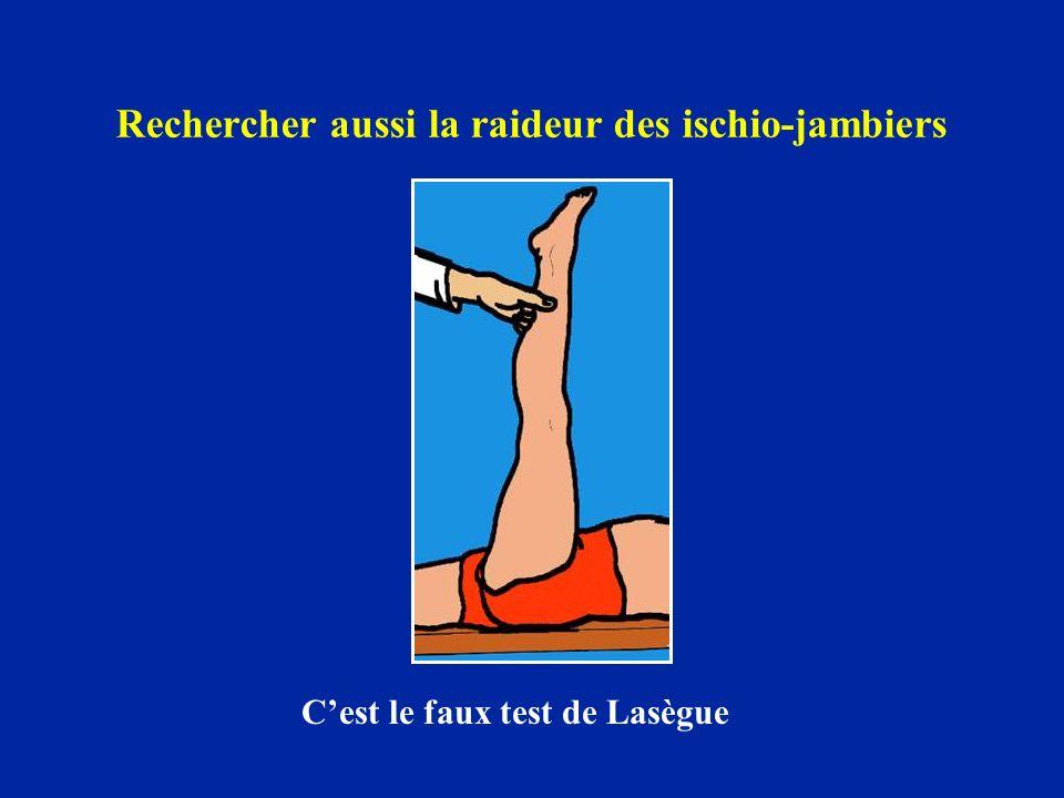Rechercher aussi la raideur des ischio-jambiers Cest le faux test de Lasègue