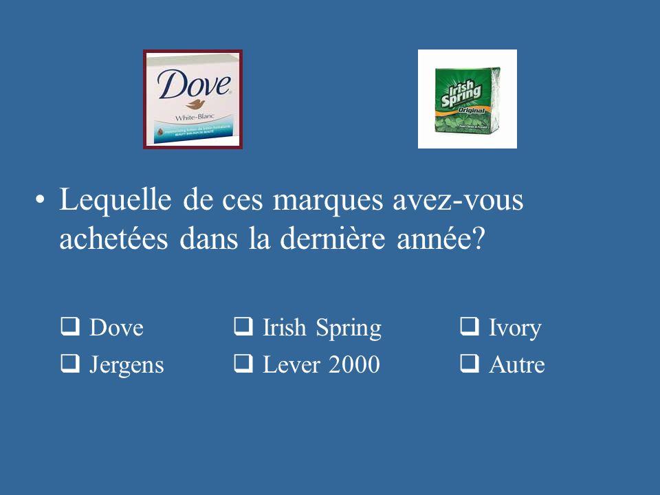 Lequelle de ces marques avez-vous achetées dans la dernière année? Dove Irish Spring Ivory Jergens Lever 2000 Autre