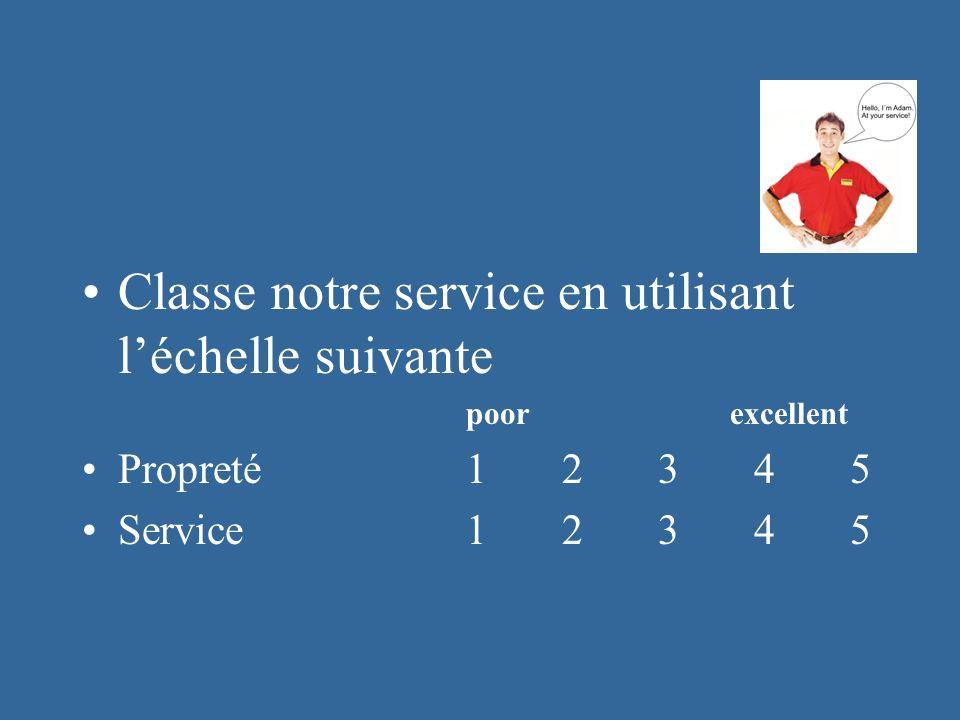 Classe notre service en utilisant léchelle suivante poor excellent Propreté12345 Service 12345