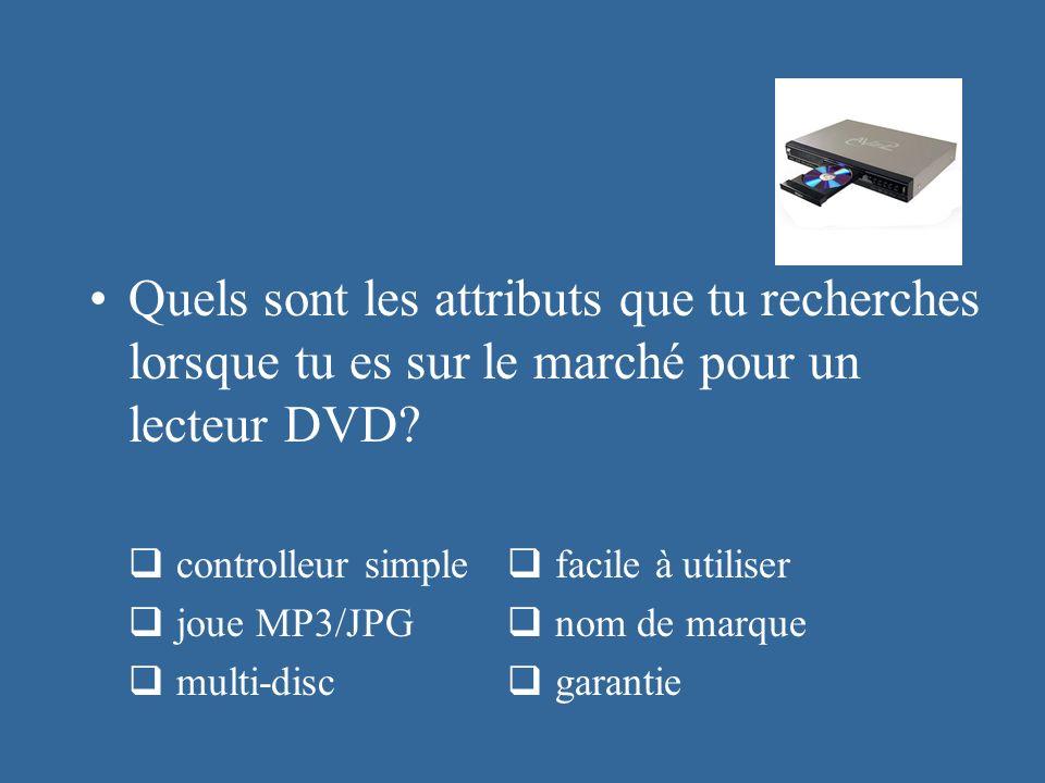 Quels sont les attributs que tu recherches lorsque tu es sur le marché pour un lecteur DVD? controlleur simple facile à utiliser joue MP3/JPG nom de m