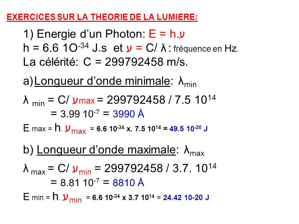 EXERCICES SUR LA THEORIE DE LA LUMIERE: 1) Energie dun Photon: E = h.ע h = 6.6 1O -34 J.s et ע = C/ λ : fréquence en Hz. La célérité: C = 299792458 m/