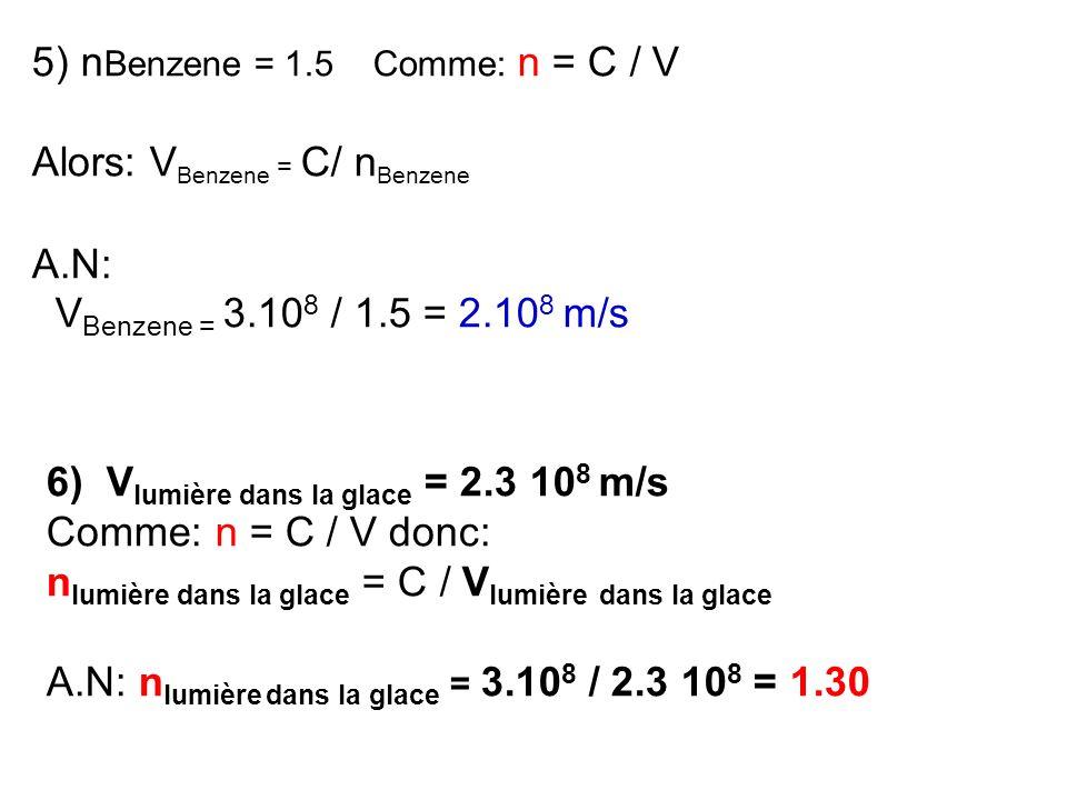 5) n Benzene = 1.5 Comme: n = C / V Alors: V Benzene = C/ n Benzene A.N: V Benzene = 3.10 8 / 1.5 = 2.10 8 m/s 6) V lumière dans la glace = 2.3 10 8 m
