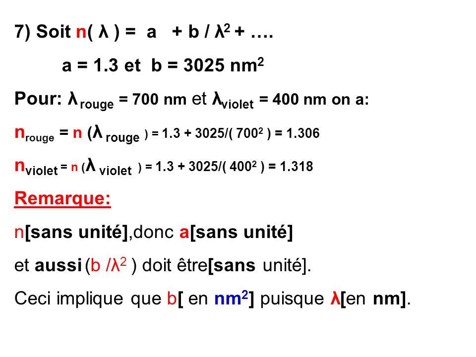 7) Soit n( λ ) = a + b / λ 2 + …. a = 1.3 et b = 3025 nm 2 Pour: λ rouge = 700 nm et λ violet = 400 nm on a: n rouge = n ( λ rouge ) = 1.3 + 3025/( 70