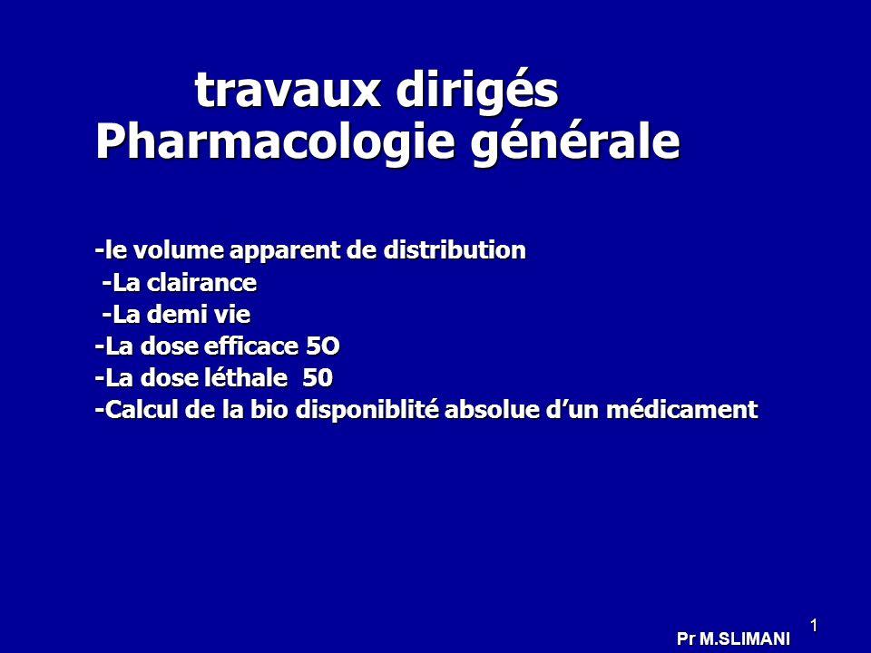 1 travaux dirigés Pharmacologie générale travaux dirigés Pharmacologie générale -le volume apparent de distribution -La clairance -La clairance -La de