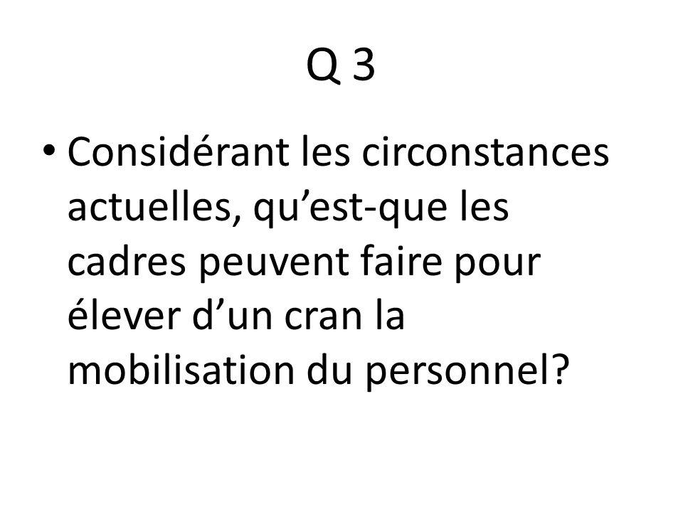 Q 3 Considérant les circonstances actuelles, quest-que les cadres peuvent faire pour élever dun cran la mobilisation du personnel?