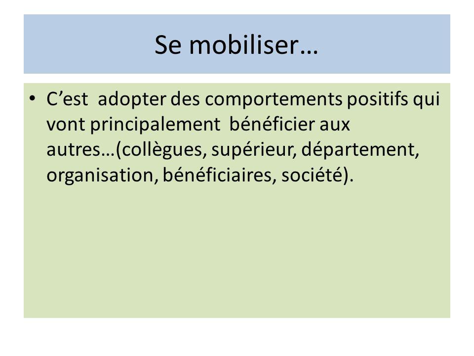 Se mobiliser… Cest adopter des comportements positifs qui vont principalement bénéficier aux autres…(collègues, supérieur, département, organisation,