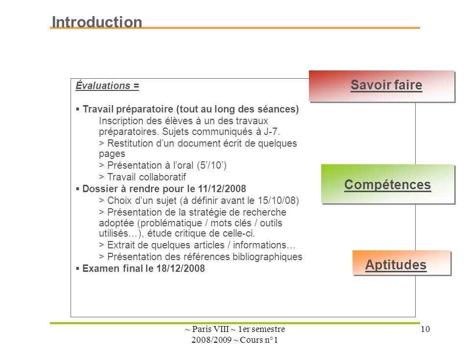 ~ Paris VIII ~ 1er semestre 2008/2009 ~ Cours n°1 10 Introduction Évaluations = Travail préparatoire (tout au long des séances) Inscription des élèves à un des travaux préparatoires.