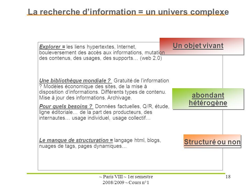 ~ Paris VIII ~ 1er semestre 2008/2009 ~ Cours n°1 18 Un objet vivant abondant hétérogène Structuré ou non La recherche dinformation = un univers complexe Une bibliothèque mondiale .