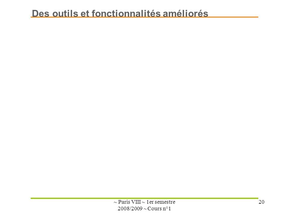 ~ Paris VIII ~ 1er semestre 2008/2009 ~ Cours n°1 20 Des outils et fonctionnalités améliorés