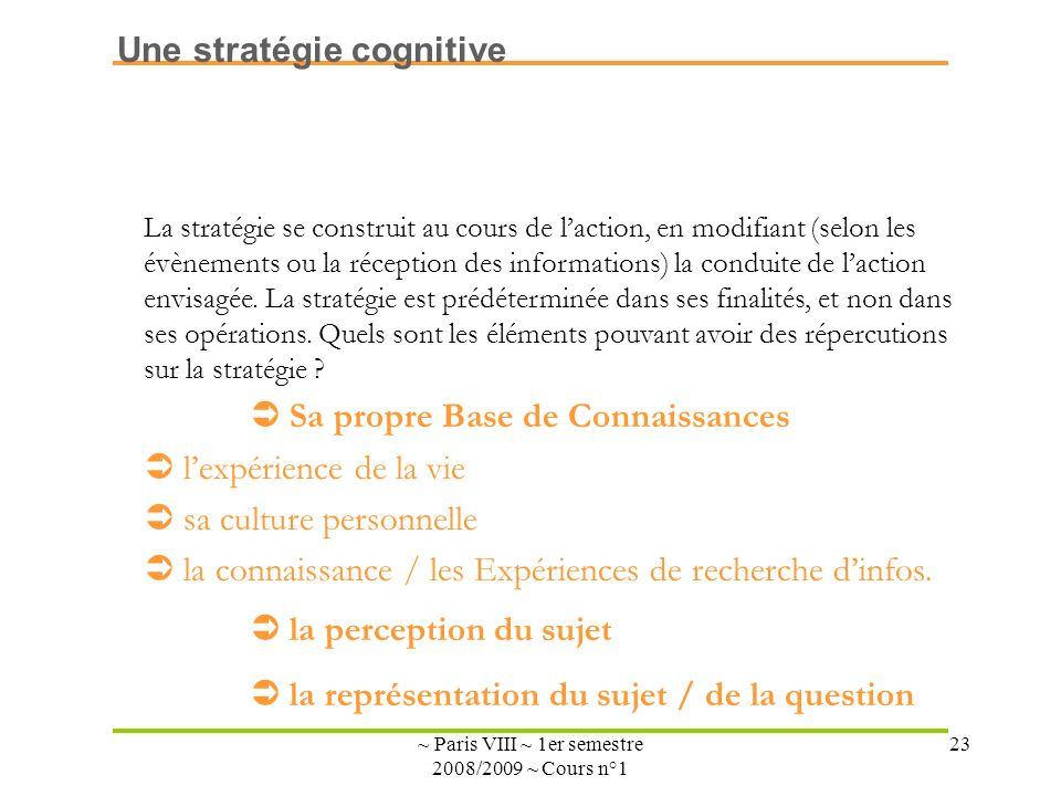 ~ Paris VIII ~ 1er semestre 2008/2009 ~ Cours n°1 23 La stratégie se construit au cours de laction, en modifiant (selon les évènements ou la réception des informations) la conduite de laction envisagée.