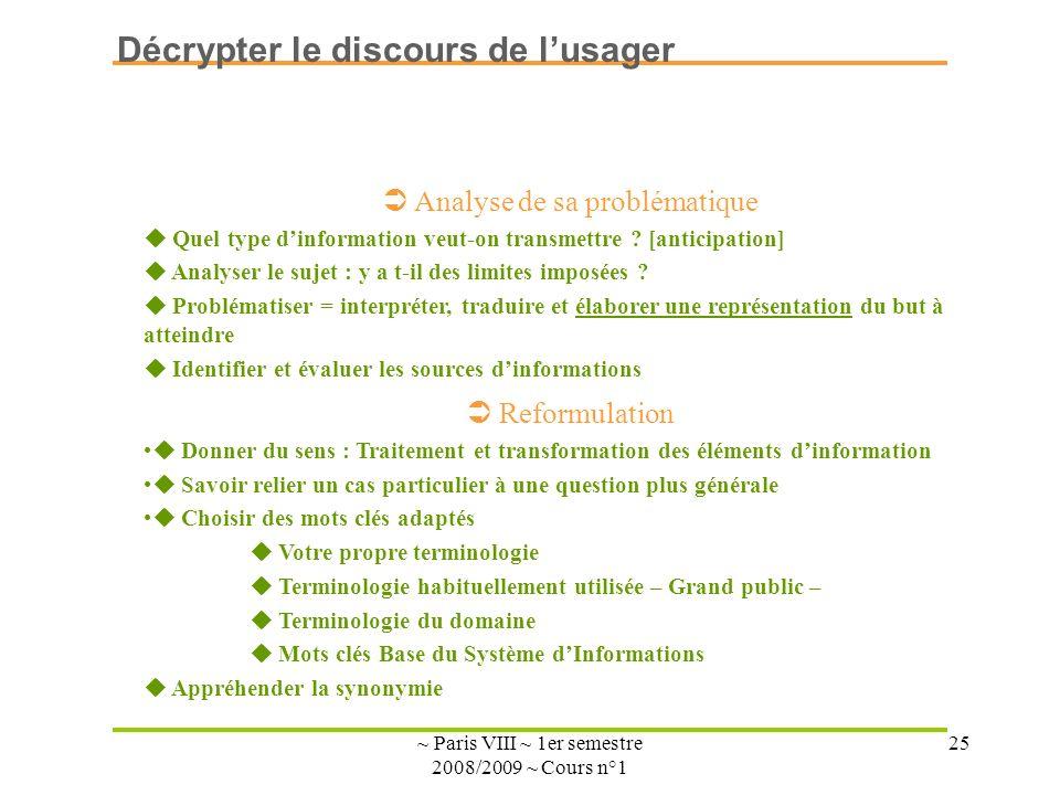 ~ Paris VIII ~ 1er semestre 2008/2009 ~ Cours n°1 25 Analyse de sa problématique Quel type dinformation veut-on transmettre ? [anticipation] Analyser