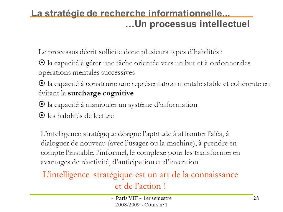 ~ Paris VIII ~ 1er semestre 2008/2009 ~ Cours n°1 28 Le processus décrit sollicite donc plusieurs types dhabilités : la capacité à gérer une tâche ori
