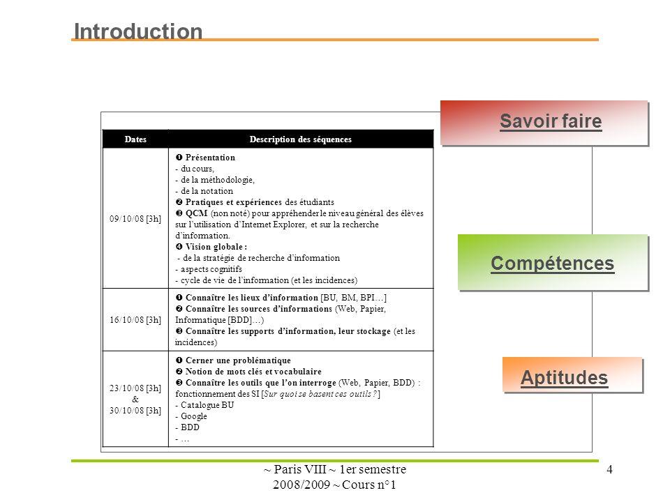 ~ Paris VIII ~ 1er semestre 2008/2009 ~ Cours n°1 4 Savoir faire Compétences Aptitudes Introduction DatesDescription des séquences 09/10/08 [3h] Prése
