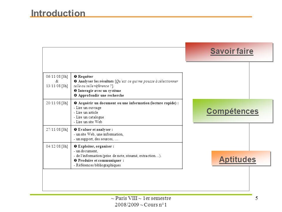 ~ Paris VIII ~ 1er semestre 2008/2009 ~ Cours n°1 5 Introduction 06/11/08 [3h] & 13/11/08 [3h] Requêter Analyser les résultats [Quest ce qui me pousse à sélectionner telle ou telle référence ?].