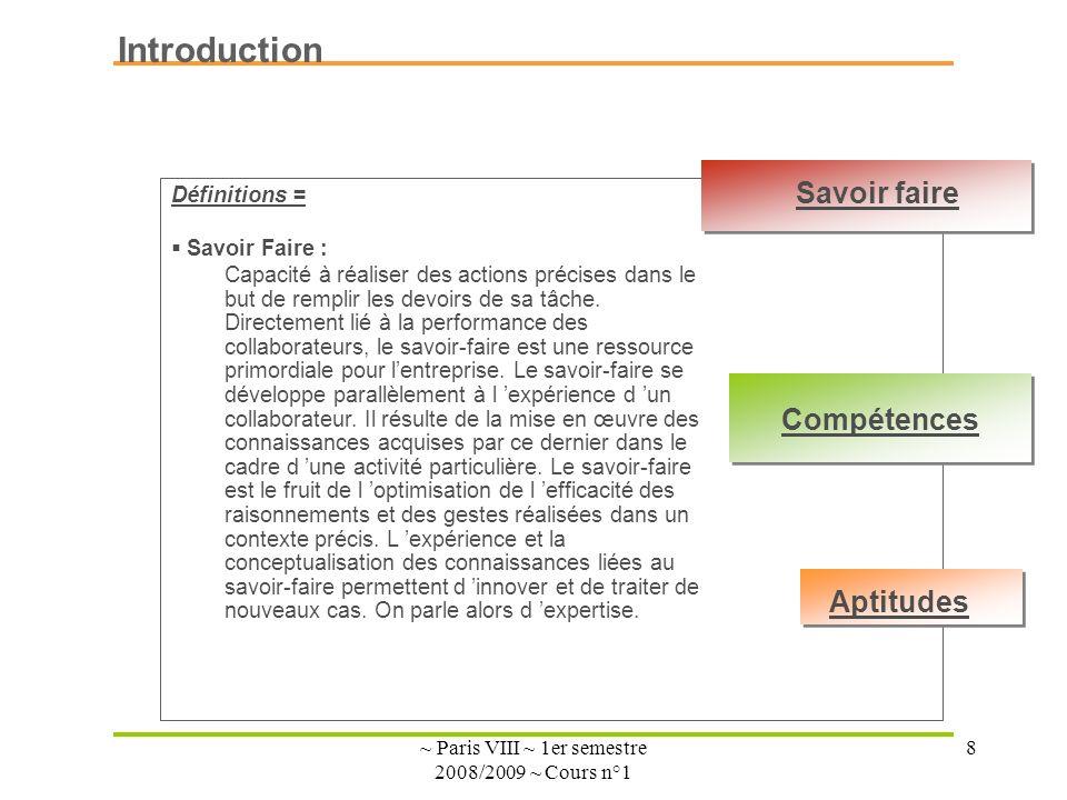 ~ Paris VIII ~ 1er semestre 2008/2009 ~ Cours n°1 8 Introduction Définitions = Savoir Faire : Capacité à réaliser des actions précises dans le but de