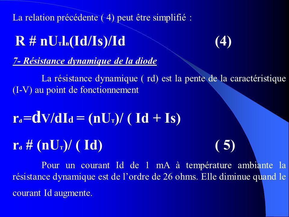 La relation précédente ( 4) peut être simplifié : R # nU T l n (Id/Is)/Id(4) 7- Résistance dynamique de la diode La résistance dynamique ( rd) est la