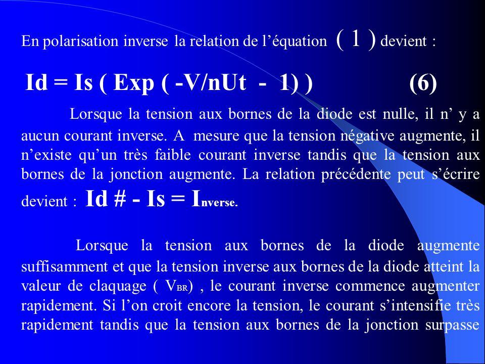 En polarisation inverse la relation de léquation ( 1 ) devient : Id = Is ( Exp ( -V/nUt - 1) )(6) Lorsque la tension aux bornes de la diode est nulle,