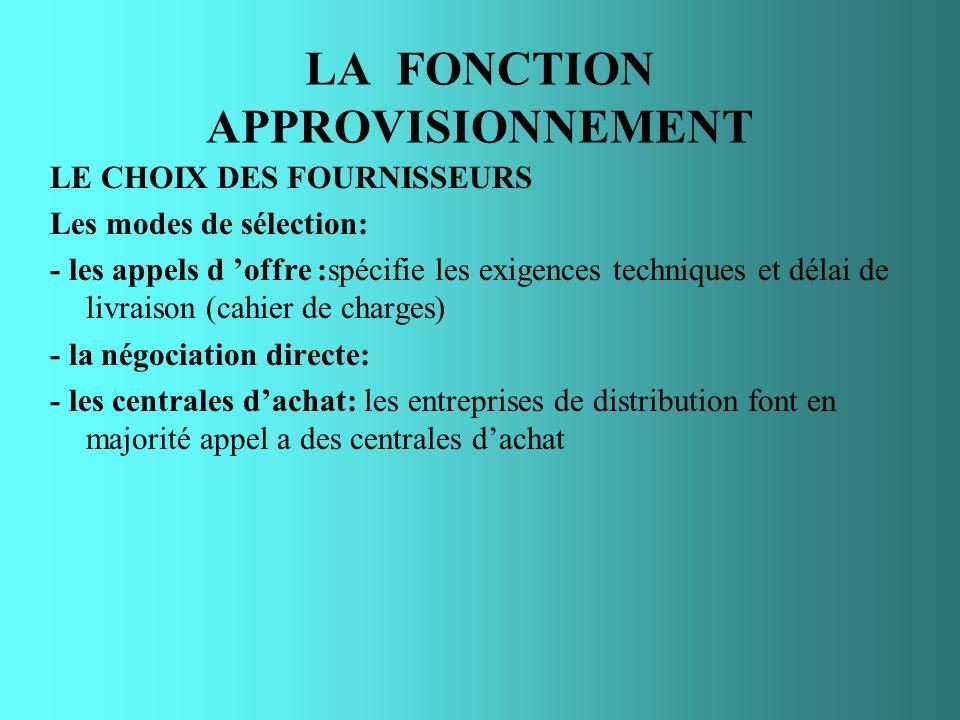 LA FONCTION APPROVISIONNEMENT LE CHOIX DES FOURNISSEURS Les modes de sélection: - les appels d offre :spécifie les exigences techniques et délai de li