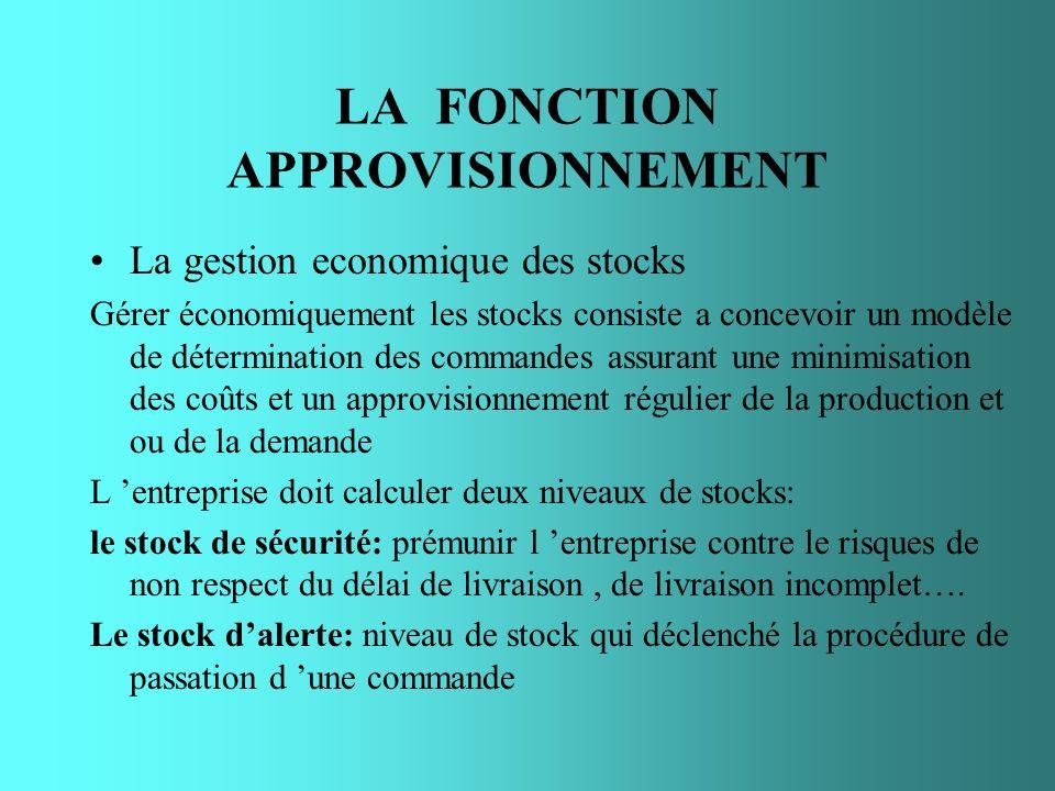 LA FONCTION APPROVISIONNEMENT La gestion economique des stocks Gérer économiquement les stocks consiste a concevoir un modèle de détermination des com