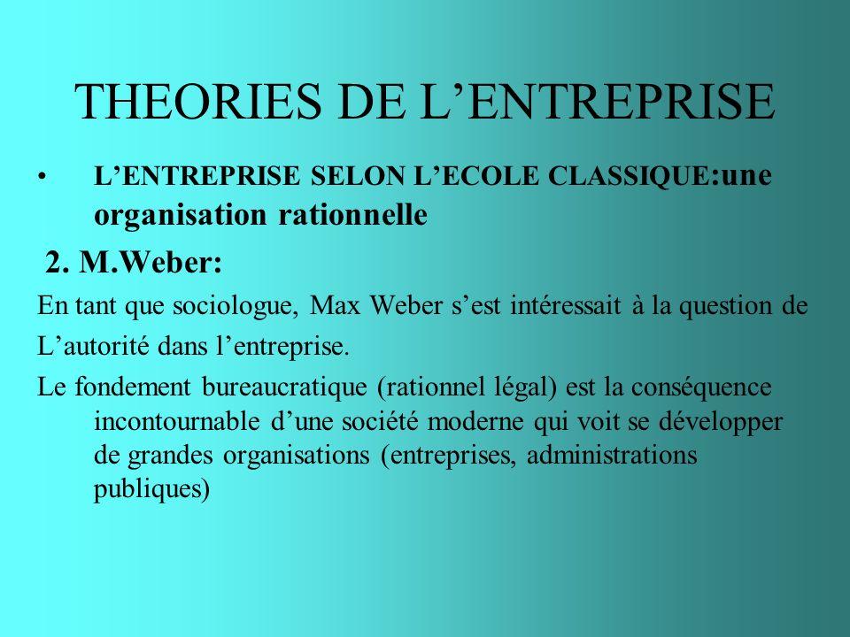 THEORIES DE LENTREPRISE LENTREPRISE SELON LECOLE CLASSIQUE :une organisation rationnelle 2. M.Weber: En tant que sociologue, Max Weber sest intéressai