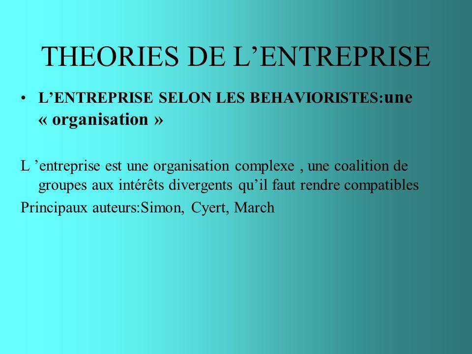 THEORIES DE LENTREPRISE LENTREPRISE SELON LES BEHAVIORISTES: une « organisation » L entreprise est une organisation complexe, une coalition de groupes